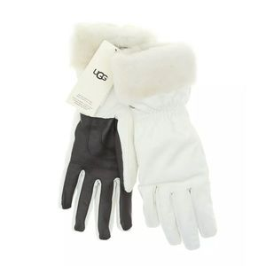 UGG Shearling Cuff Fur Lined Tech Gloves in White